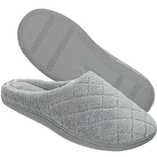 Dearfoams Women's Quilted Terry Clog Mule Slipper – Padded Terrycloth Slip-ONS with Skid-Resistant Rubber Outsole, Medium Grey, Large/9-10 M US