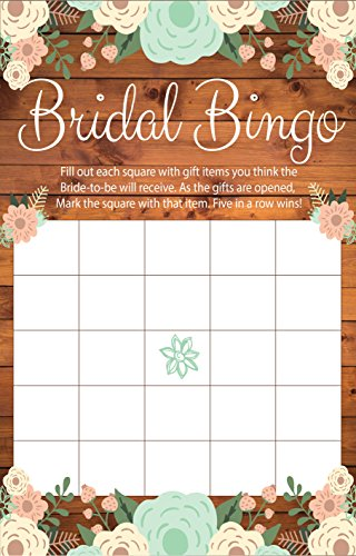 Bridal Bingo Rustic Bridal Shower Games, Premium Card Stock Bride Game Cards, Bridal Shower Decorations, Bride To Be Gifts, Wedding Games & Wedding Decorations, Party Favors, (20 Guests) ()