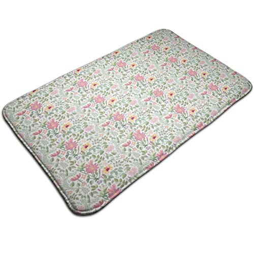 Bath Mat,Wildflowers Leaves and Branches Pattern with Botanical Motifs Romantic Vintage Theme,Plush Bathroom Decor Mat Non Slip Backing,19.531.5 inch