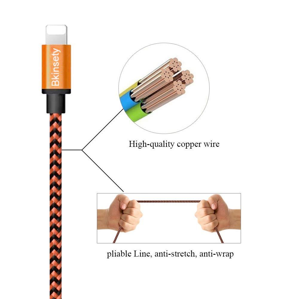 Bkinsety 5 Pack Nylon Tressé USB Câble Sync Recharge Câble Connecteurs de Cordon pour iPhone XS Max 8 7 6 5 iPad iPod (3FT)