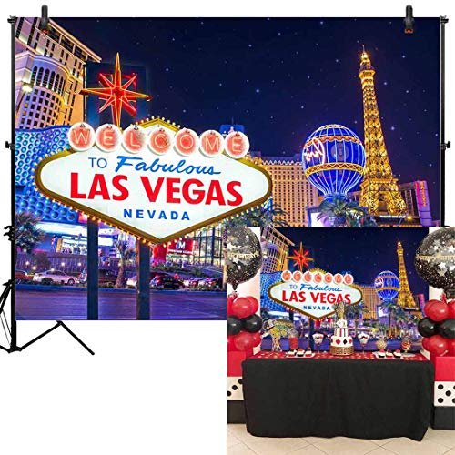 Allenjoy 7x5ft Las Vegas Night Backdrop Decorations Fabulous Casino Poker Movie Themed Vintage Costume Dress-up Birthday Prom Ceremony Supplies Favors Decor Banner Props Photography Studio Background from Allenjoy