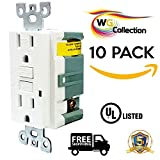 WG Collection 20A 125 Volt Tamper-Resistant GFCI Outlet, Receptacle, UL Listed, White Color Finish , LED Indicator for Residential and Commercial Use. 10 Pack