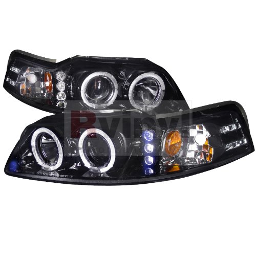 (Spec-D Tuning Ford Mustang 1999 2000 2001 2002 2003 2004 LED Halo Projector Headlights - Black Smoke)