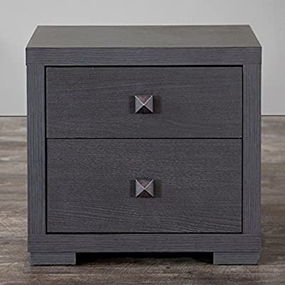 Baxton Studio Marco Contemporary 2 Drawer Nightstand - Dark Brown Espresso - Dimensions: 18.5W x 15.25D x 17.25H inches Quality wood and engineered wood construction Contemporary dark brown espresso finish - nightstands, bedroom-furniture, bedroom - 51dGLjNnL7L. SS400  -