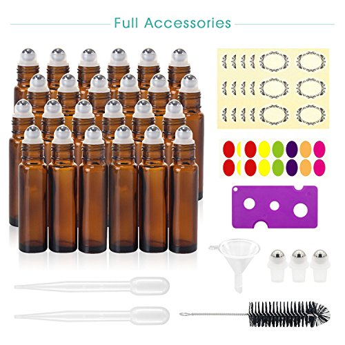 24, 10ml Roller Bottles for Essential Oils - Amber, Glass with Stainless Steel Roller Balls by Mavogel (3 Extra Roller Balls, 54 Pieces Labels, Opener, Funnel, Dropper, Brush Included) by Mavogel (Image #1)