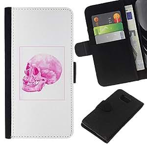 All Phone Most Case / Oferta Especial Cáscara Funda de cuero Monedero Cubierta de proteccion Caso / Wallet Case for Samsung ALPHA G850 // Pink Skull