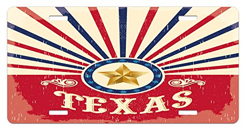 Lunarable Texas License Plate, Texas Vintage Western Cowboy Style Sunburst and Star with Grunge Effects, High Gloss Aluminum Novelty Plate, 5.88 L X 11.88 W Inches, Navy Blue Red Cream
