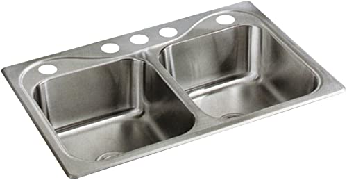 STERLING 11402-5-NA Southhaven 20-Gauge Double-Basin Drop-In Kitchen Sink, Stainless Steel