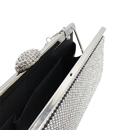 Satin Women Crystal Prom Wocharm Clutch Box Diamante HandBag Wedding Purse Evening Bag Black Phone Party aUqSwd5w