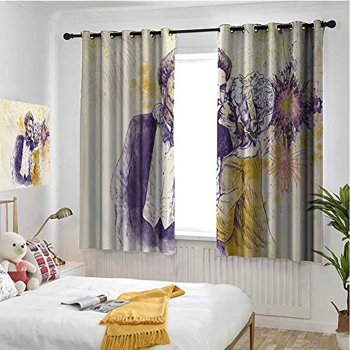 hengshu Kiss Blackout Curtains - Gasket Insulation Happy Couple Kissing with Artistic Color Splashes Fireworks Sketch Art Smiling Faces Blackout Curtains for The Living Room W63 x L72 Inch Multicolor