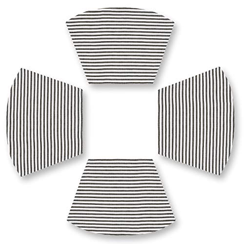 (Cackleberry Home Black and White Ticking Stripe Curved Placemats 13 x 19 Inches Woven Cotton, Set of 4)
