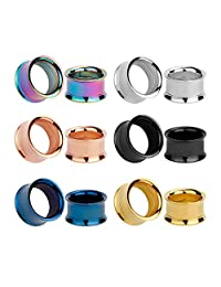 KUBOOZ 12pcs Set Colorful Stainless Steel Screwed Mix Ear Plugs Tunnels Gauges Stretcher Piercings