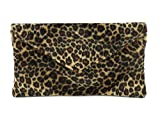 Loni Womens Neat Envelope Animal Print Faux Fur Clutch Bag/Shoulder Bag in leopard