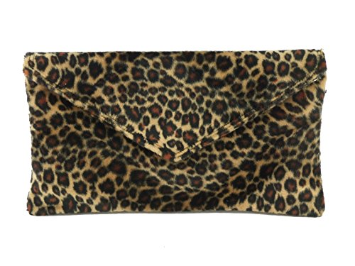 Loni Womens Neat Envelope Animal Print Faux Fur Clutch Bag/Shoulder Bag in leopard
