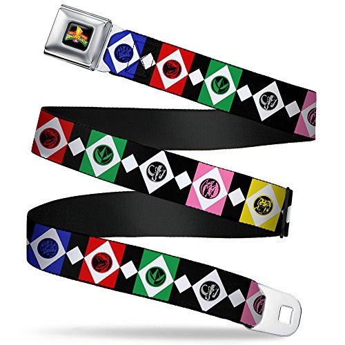 Power Rangers Logo Full Color Seatbelt Belt - Power Ranger Animal Logo Blocks Black/White/Multi Color (Power Ranger Belt)