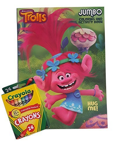 "Dreamworks Trolls Jumbo Coloring And Activity Book "" Hug Me"" With Crayola Crayons 24 ..."