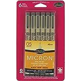 Sakura Pigma 50038 Micron Blister Card Ink Pen Set, Black, 05 6CT