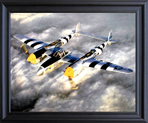 Impact Posters Gallery Jet Aviation Framed Picture Wall Decoration WWII P-38 Lightning Fighter Plane Aircraft Military Black Art Print