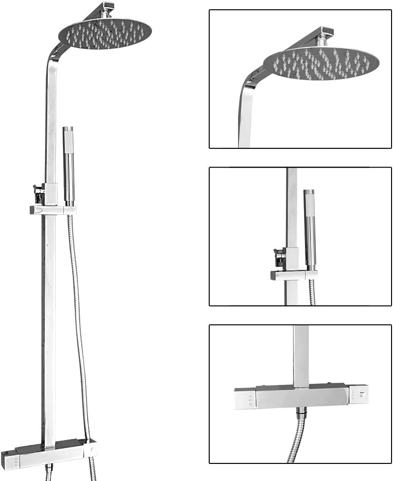 Vesuvio Lofoi Thermostatic Stainless Steel Mixer Shower Set Hand Held Shower Modern Ultra Thin 8 Round Rain Shower Head