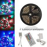 Yoland LED Strip Lights Kit, Non-Waterproof LED Roll Light RGB 16.5Ft/5M with 44Key Remote Controller and Adapter for Party Lighting/Holiday Decorators