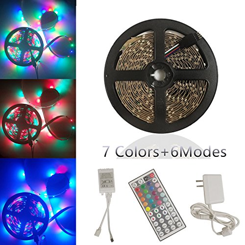 Yoland LED Strip Lights Kit, Non-Waterproof LED Roll Light RGB 16.5Ft/5M with 44Key Remote Controller and Adapter for Party Lighting/Holiday Decorators by Yoland