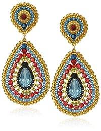 Miguel Ases Rubelite Swarovski Teardrop Multi-Colored Drop Earrings