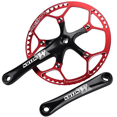 - T-best Single Speed Crankset 53T Mountain Bike Aluminum Alloy Hollow Integral Crank Set Arm Repair Accessory(Black & Red)