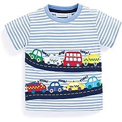 BEILEI CREATIONS Little Boys Summer Cotton Strip T Shirt,Summer Short Sleeve T-shirt Clothes (4T, Car)