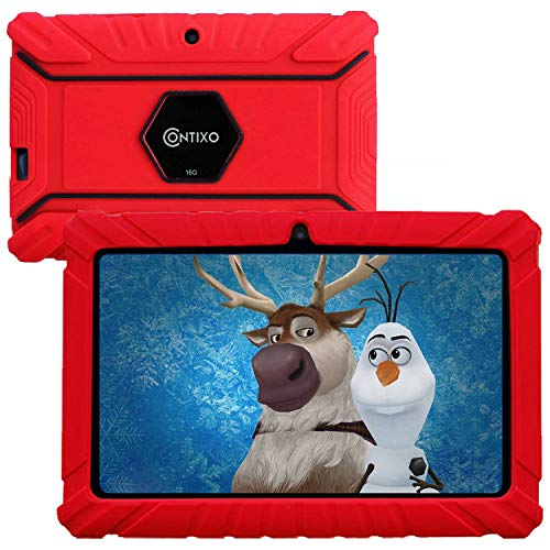 "Contixo V8-2 7"" Edition Android 16GB Kids Tablet Parental Control 20+ Learning Education Apps Toy Tablet for Kids Pre-Installed Looney Tunes Content WiFi Camera Best Gift (Red)"