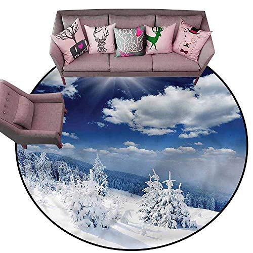 Dining Table Rugs Winter,Snow Covered Trees Diameter 78