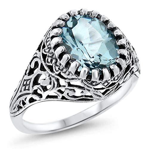 2 CT Genuine Sky Blue Topaz Antique Design 925 Sterling Silver Ring SZ 5.75 KN-4008