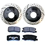 Prime Choice Auto Parts SCDPR6304563045868 Rear Performance Drilled and Slotted Brake Rotors and Ceramic Brake Pads