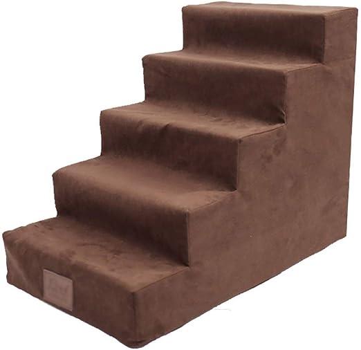 ZSCWMB Mascotas 5 Pasos para Perros Escalera para Mascotas Descanso para Mascotas tobogán para niños Escalera para IR a la Cama escaleras de Mascotas (Color : Brown): Amazon.es: Hogar