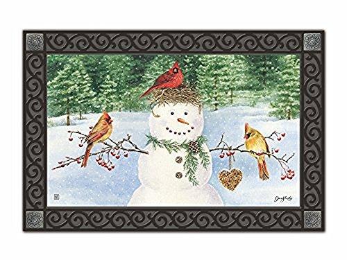 Snowman Birdfeeder Winter Doormat Cardinals Indoor Outdoor 18