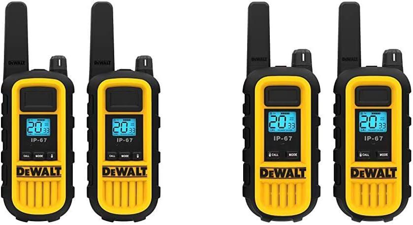 DEWALT DXFRS800 2 Watt Heavy Duty Walkie Talkies - Two-Way Radio with VOX (2 Pack) & DXFRS300 1 Watt Heavy Duty Walkie Talkies - Long Range & Rechargeable Two-Way Radio with VOX (2 Pack)