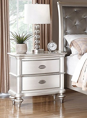 Poundex Liliana Antique Silver Wood Nightstand 2-Drawer