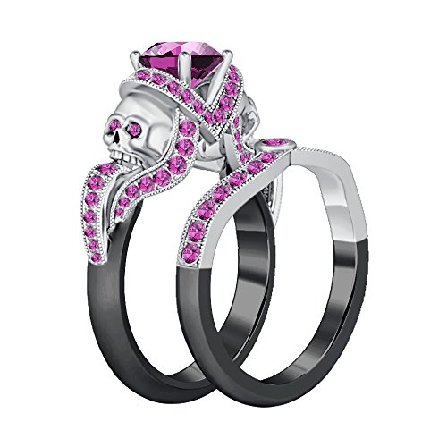 Silvernshine Jewels 1.52Ct Round Pink Sapphire CZ Two Skull Design Engagement Ring Black & White Gold PL