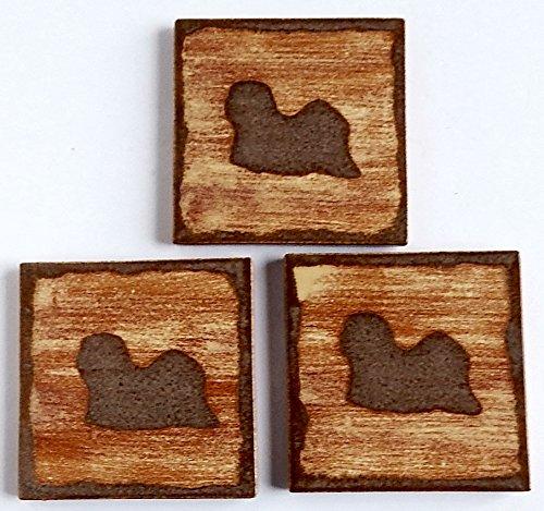 (Lhasa Apso Dog Coasters Set Square 3 Ceramic)