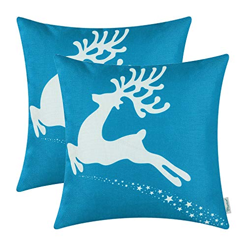 2 pack of Reindeer Christmas Throw Pillow Covers in Blue & White