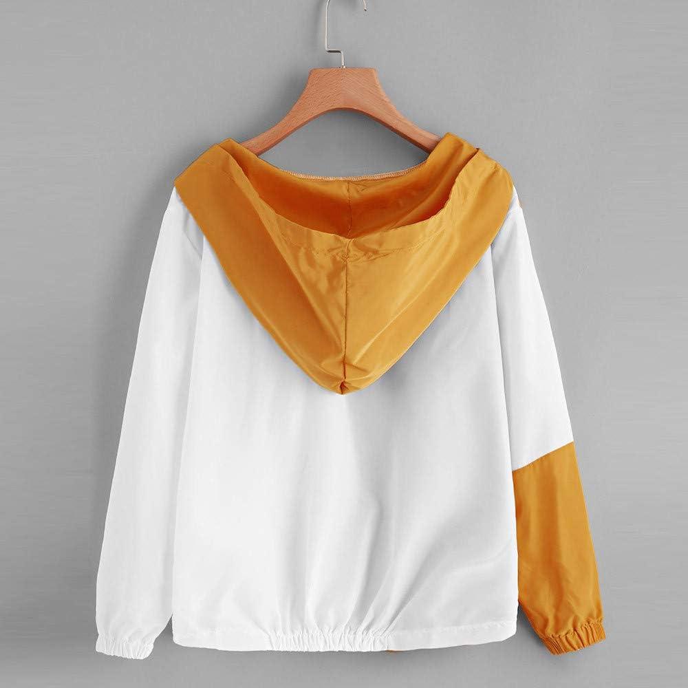 YKARITIANNA Women Fashion Hoodies /& Sweatshirts Tees Blouses Long Sleeve Patchwork Hooded Jacket Thin Zip Sport Coat