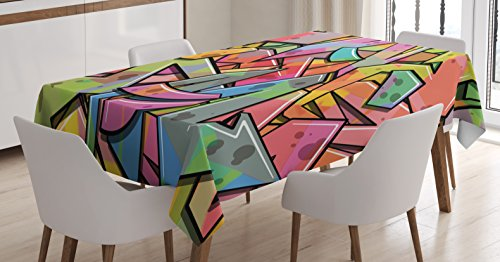"""Ambesonne Colorful Tablecloth, Abstract Grunge Arrows Graffiti Inspired Spray Paint Style Illustration, Dining Room Kitchen Rectangular Table Cover, 52"""" X 70"""", Pink Green"""