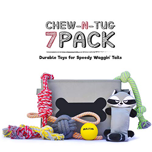 BULLTUG - Dog Toys (7-Pack Bagged Gift Set). Toy Storage Basket, Four Thick Chew Ropes, Squeaky-Crinkly Plush, Tough Bouncy Ball - for Puppies up to Large Size Dogs