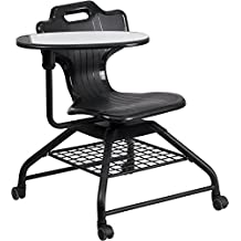 Flash Furniture Black Mobile Classroom Chair with Swivel Tablet Arm
