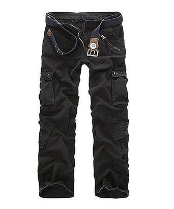 ZKOO Cargohose Herren Wasserwäsche Cargo Stoff Hose Baumwolle Freizeithose Lose Kampfhose Wanderhose Mit Multi Tasche (ohne Gürtel) Schwarz