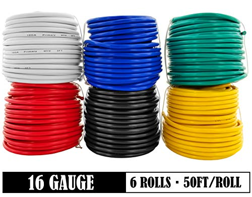 16 Gauge 6 Color Combo 50 Feet Roll (300 ft total) Copper Clad Aluminum Low Voltage Automotive Primary Harness Wire for Car Stereo Amplifier Remote Trailer Hookup Wiring (Also in 18 Guage) (Wire Electrical For Car)