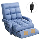 GOFLAME Adjustable Folding Massage Lazy Sofa, Floor Chair Sofa, Padded Gaming Chair with Armrests and Pillow, Lounger Bed for Home & Office