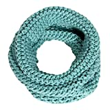 Women's Solid Knit Neck Warmer Winter Warm Thick Circle Infinity Scarf by SERENITA, Mint