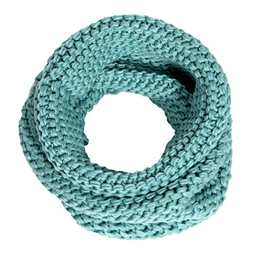 Women's Solid Knit Neck Warmer Winter Warm Thick Circle Infinity Scarf by SERENITA, Mint by SERENITA