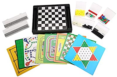 [21 in 1] Family Magnetic Game Set 12.6'' 10.2'' Chess/Checkers/Backgammon/Reversi/I-Go/Fox&Hens/Manji/Ludo Game/Gomoku-Narabe/Solitaire/Chinese Checkers /Nine Men's Morris/Space-Venture Game