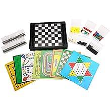 [21 in 1] Family Magnetic Game Set 12.6'' 10.2'' Chess/Checkers/Backgammon/Reversi/I-Go/Fox&Hens/Manji/Ludo Game/Gomoku-Narabe/Solitaire/Chinese Checkers /Nine Men's Morris/Space-Venture Game